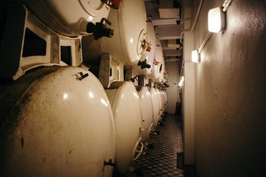 Historical fermentation tanks at De Halve Maan