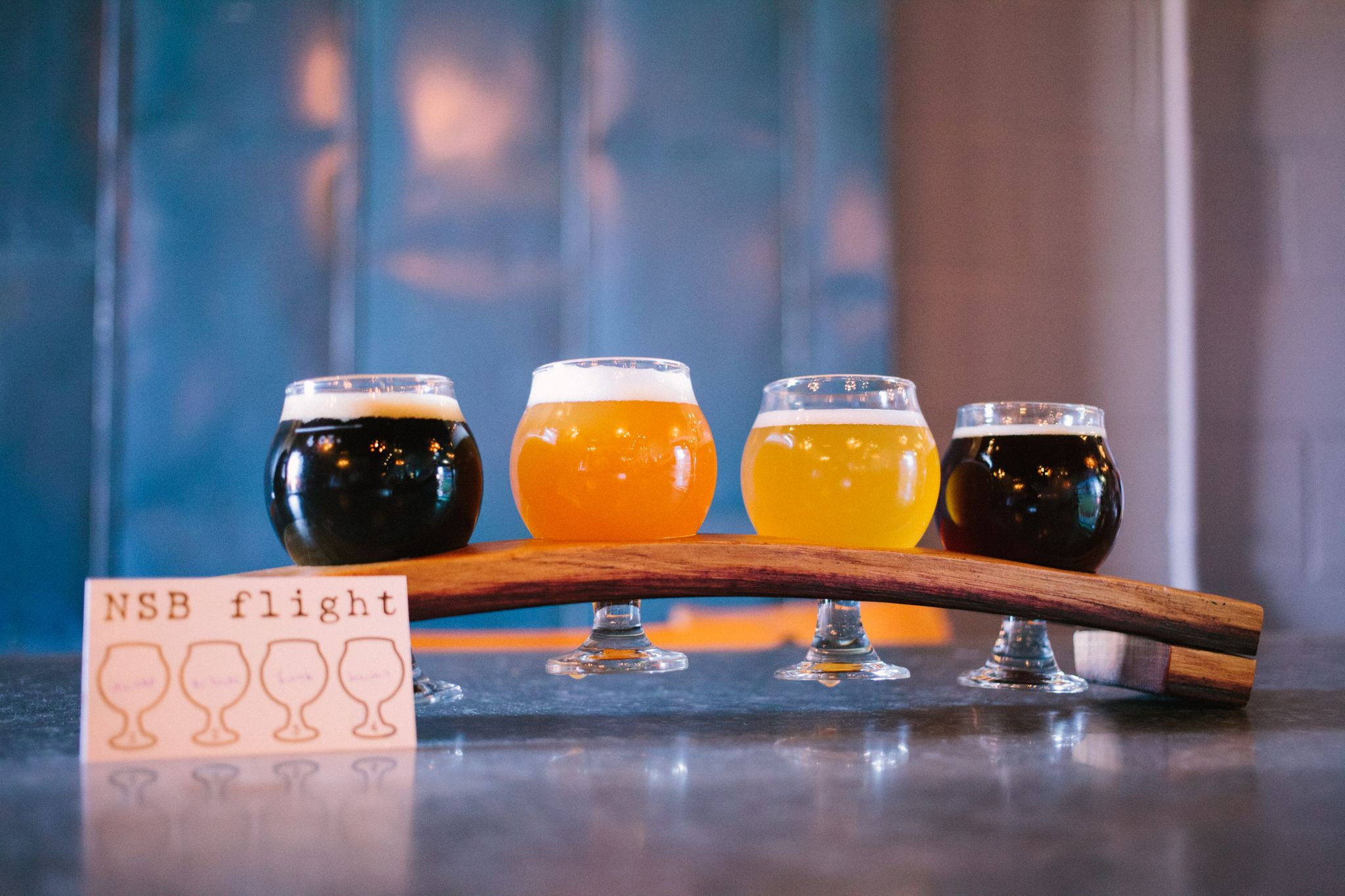 Flight of beer at Night Shift Brewing