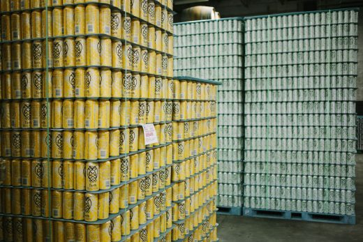 Lots of cans at Night Shift Brewing