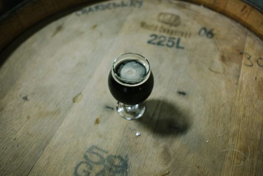 Awake American Stout on a barrel at Night Shift Brewing